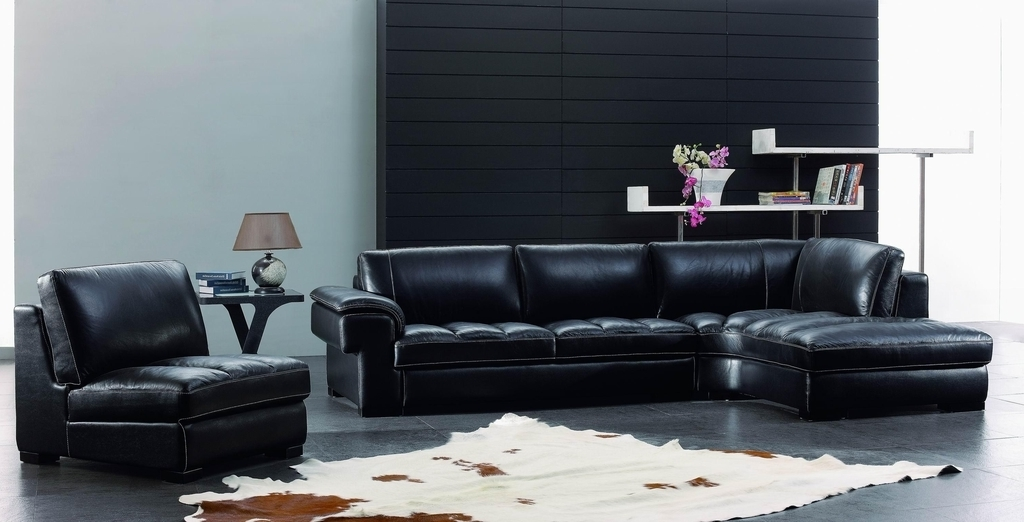 Black Leather Living Room Sofa Decor (Image 3 of 27)