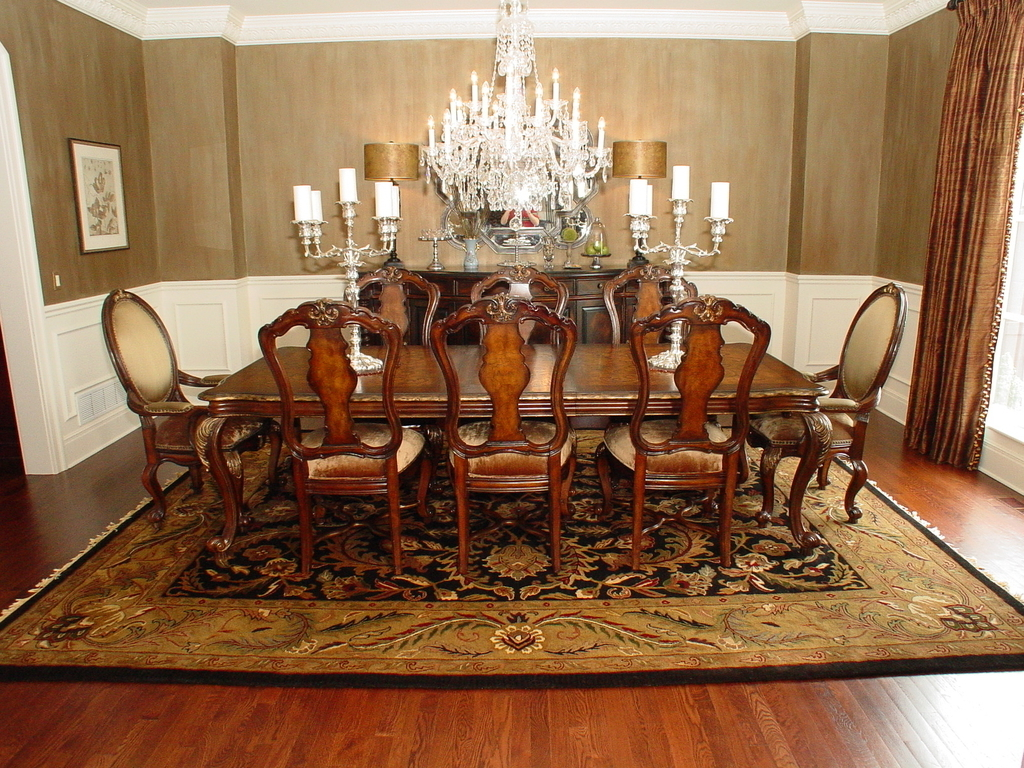 Classic Dining Room Carpet Flooring With Persian Rugs (Image 2 of 24)