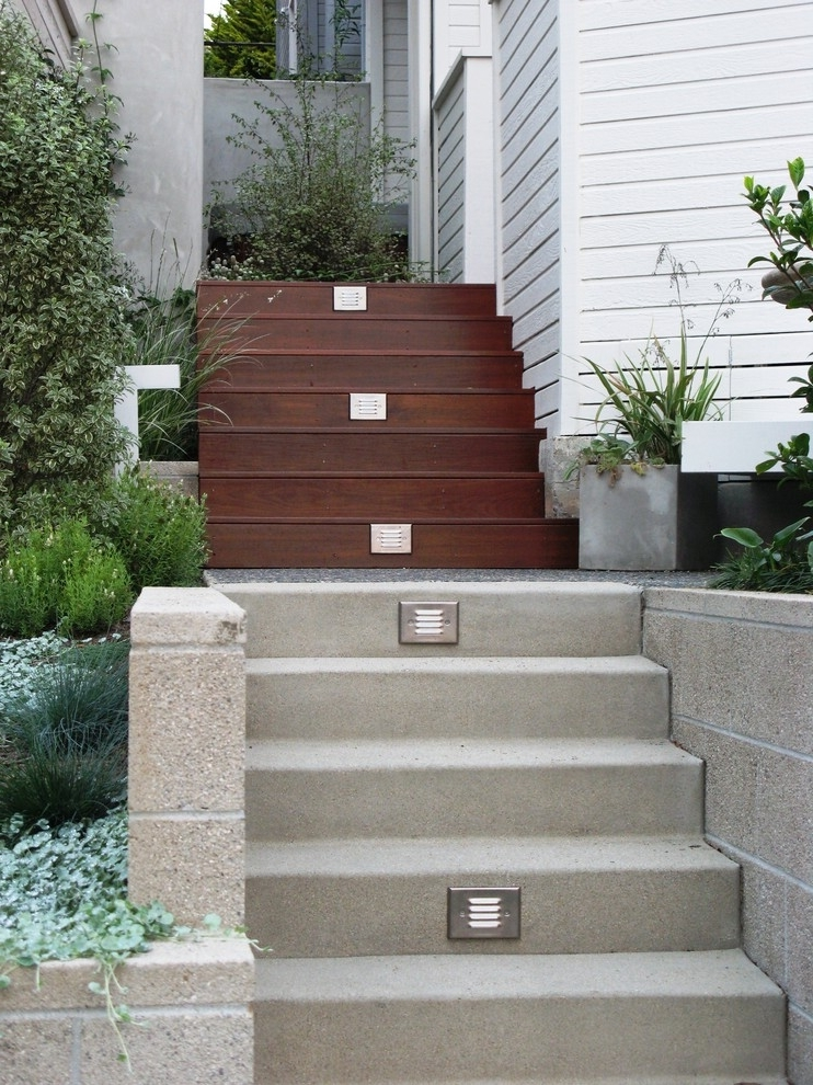 2 Level Outdoor Cement And Wooden Stairs (Image 1 of 5)