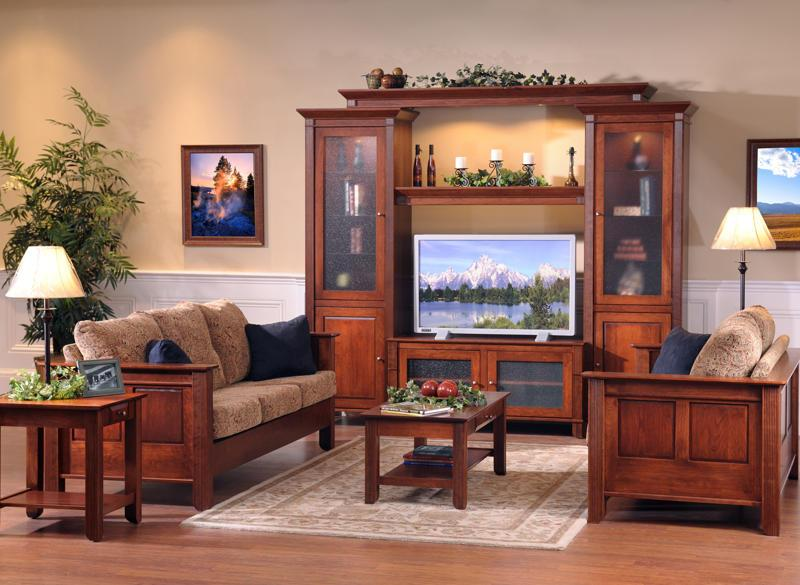 Amish Furniture Living Room Furniture Solid Wood Arlington Modular Home Entertainment Center (View 8 of 9)