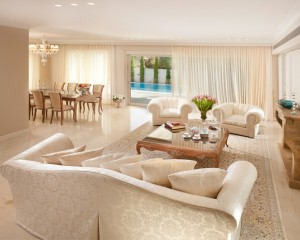 Beauty Tropical Living Room with White Marble Flooring
