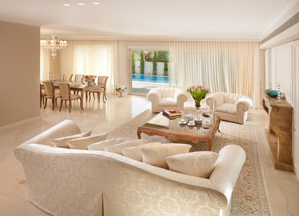Beauty Tropical Living Room With White Marble Flooring (View 6 of 9)