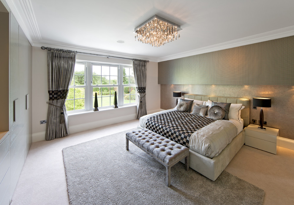 Best Classy Bedroom With Crystal Chandelier (Image 2 of 8)