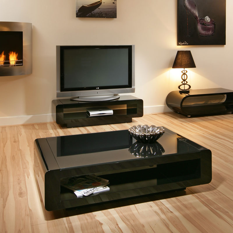 Black Glass Top Coffe Table In Contemporary Design (Image 1 of 6)