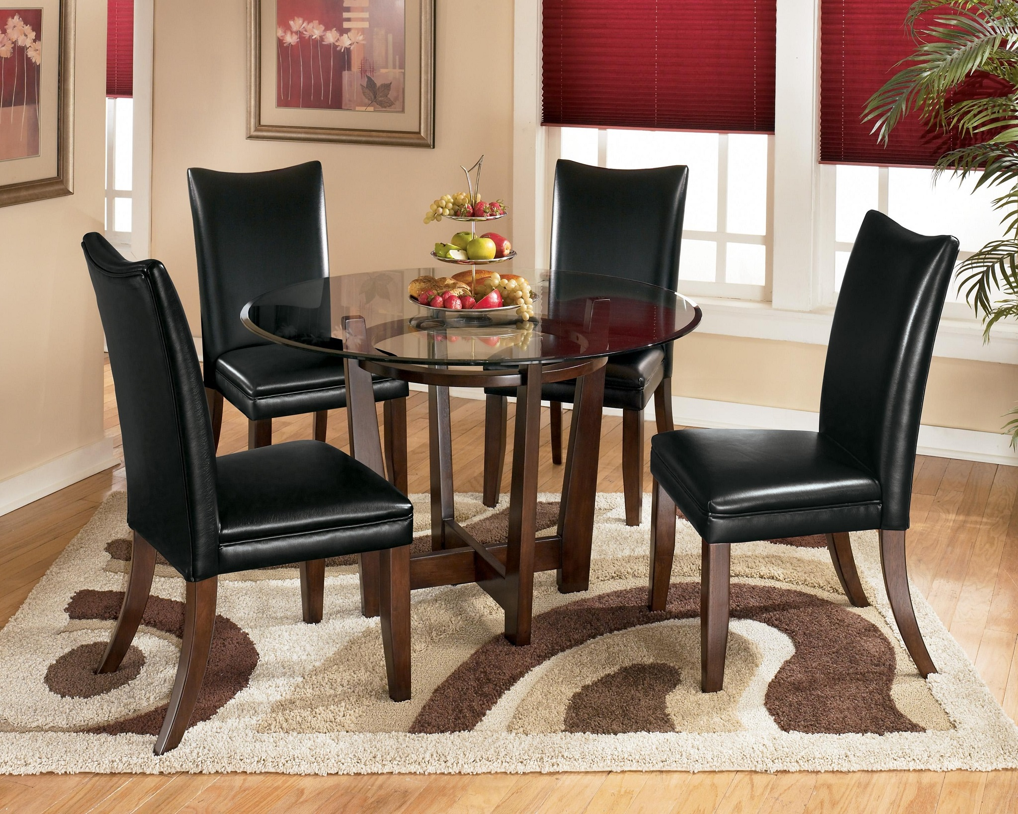 Black Glass Top Dining Room Round Table (Image 2 of 6)