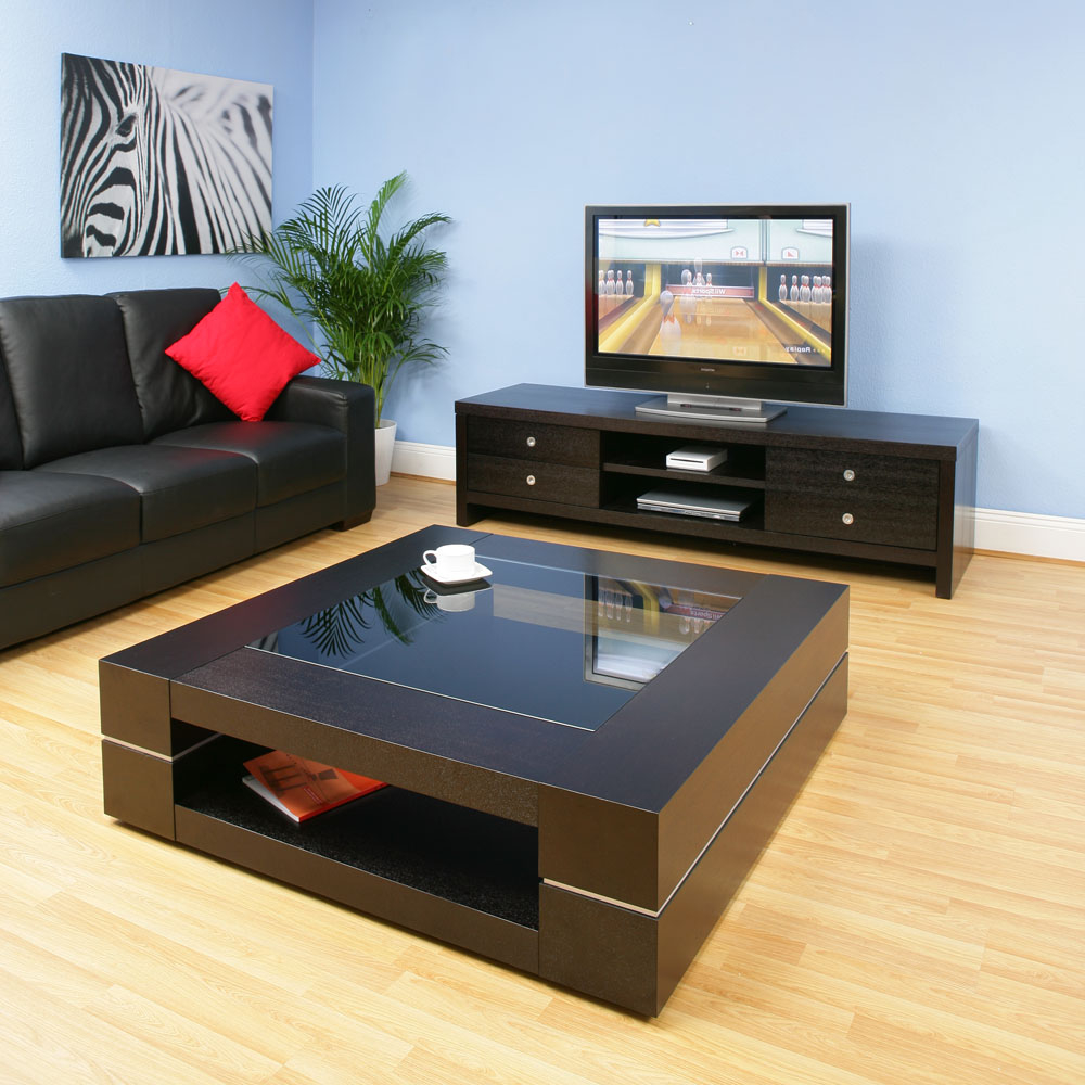 Black Glass Top Living Room Table With Wooden Frame (Image 3 of 6)
