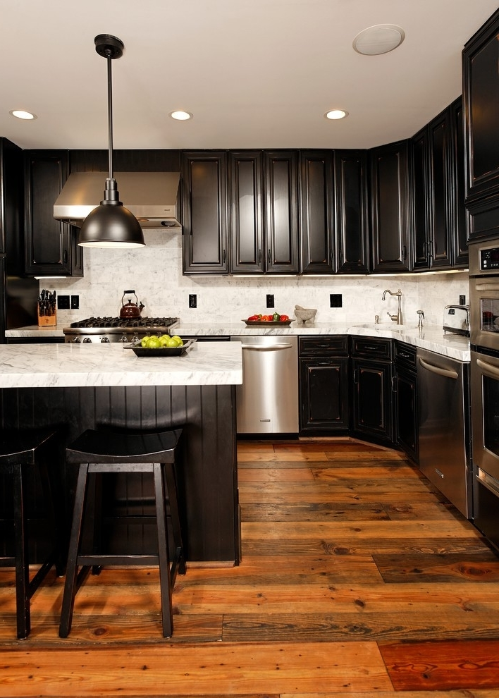 Black Modern Kitchen Cabinet Design (View 2 of 13)