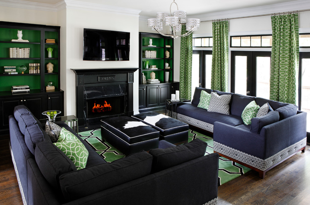 Black And Green Color Theme For Modern Living Room (Image 1 of 8)
