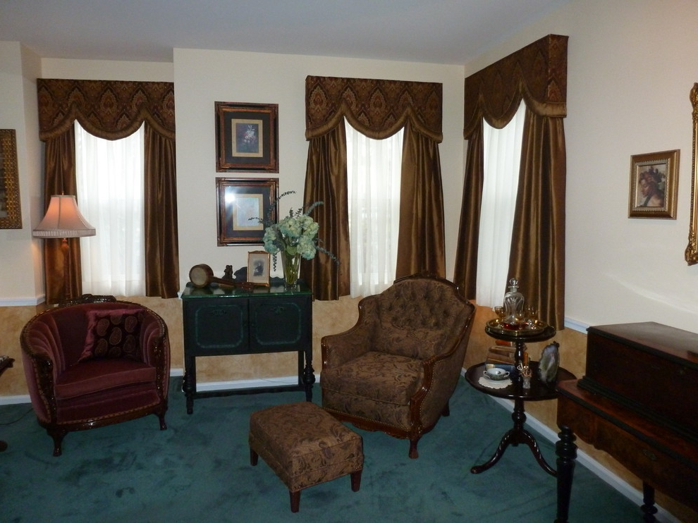 Brown Color For Classic Victorian Living Room Curtains Image 1 Of 4