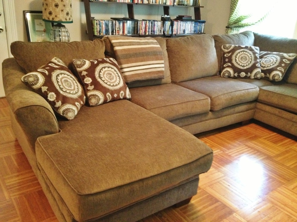 Brown Pillows Decor For Large Curved Couch (Image 3 of 20)