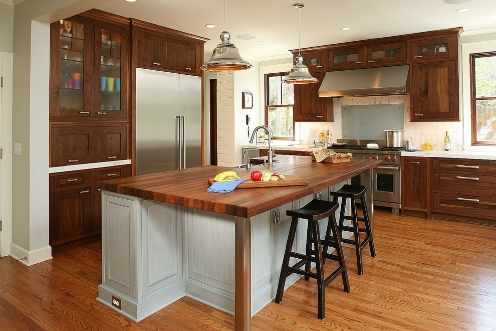 Brown Wooden Kitchen Cabinet Contemporary Style (View 3 of 13)