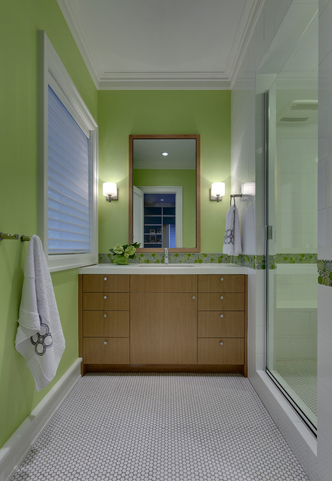 Contemporary Bathroom In Green Wall Color (Image 2 of 8)