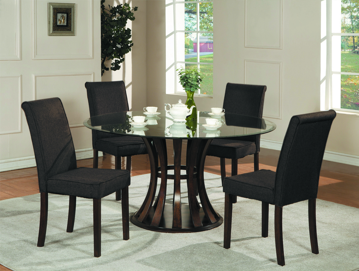 Contemporary Black Glass Top Dining Table (Image 4 of 6)