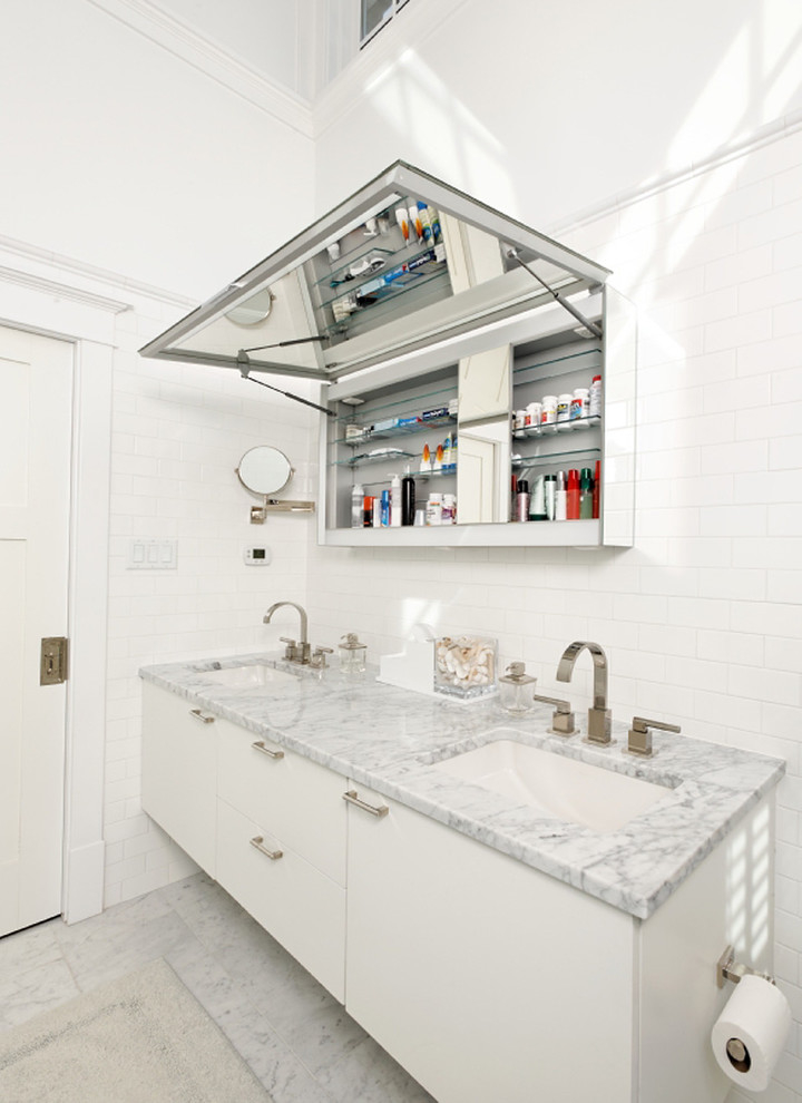 Contemporary Built In Medicine Cabinets Marble Countertop (Image 1 of 6)