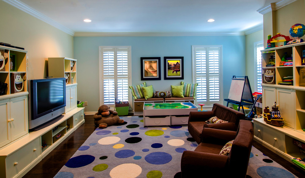 Contemporary Kids Playroom With Carpet Flooring (Image 4 of 9)