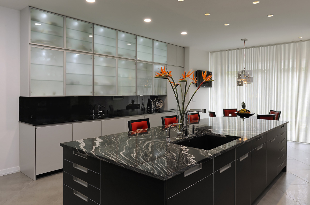 Contemporary Kitchen With Black Granite Countertop (Image 3 of 8)