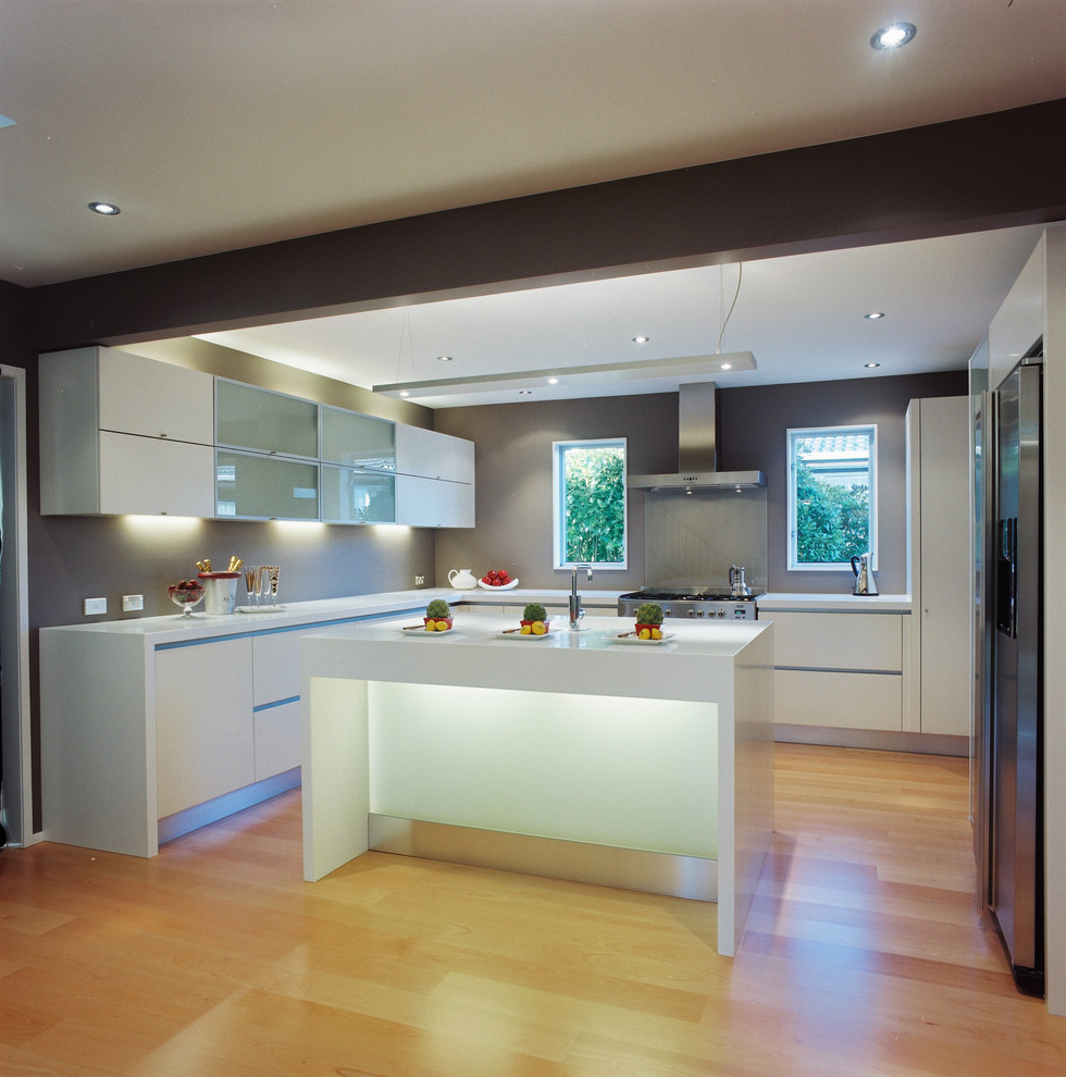Contemporary Kitchen With LED Cabinet Lighting (Image 4 of 8)