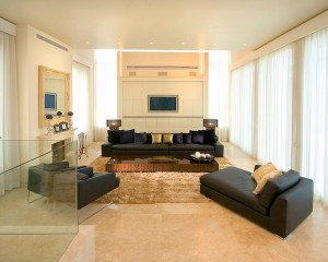 Contemporary Living Room with Marble Flooring and Carpet