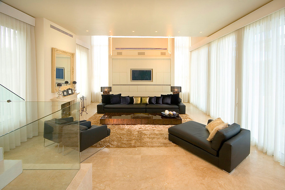 Contemporary Living Room With Marble Flooring And Carpet (View 7 of 9)