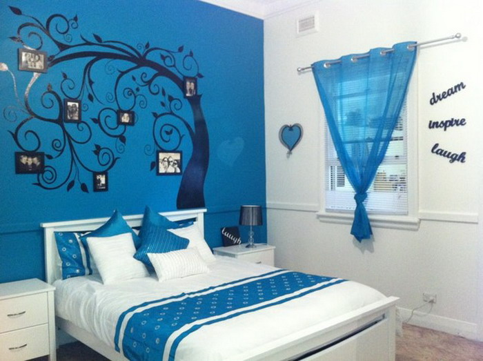 Cool Blue Tree Murals In Kids Bedroom (Image 4 of 8)