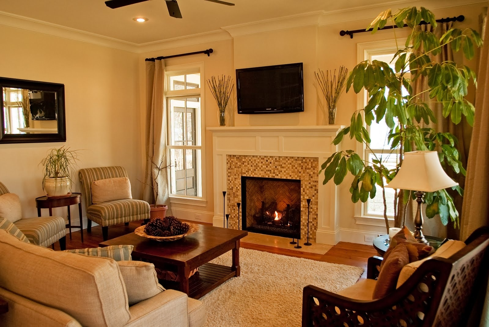Country Style Mexican Living Room With Fireplace (Image 2 of 10)