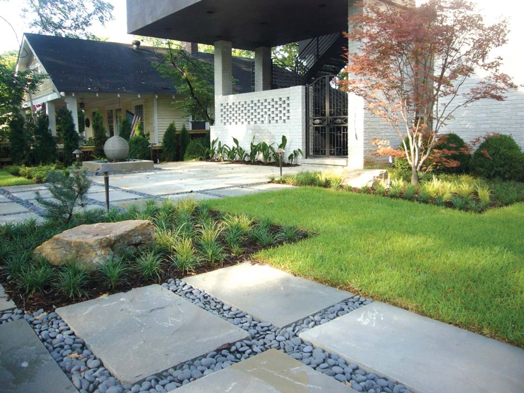 Natural stone yard and landscape rocks 550 house - Modern front yard landscaping ...