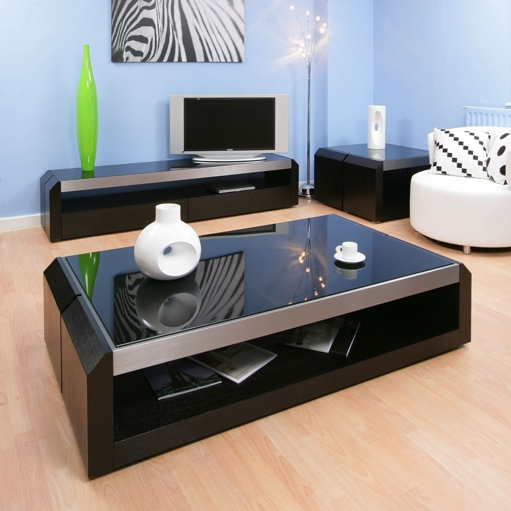 Deluxe Black Glass Top Table Design (Image 5 of 6)