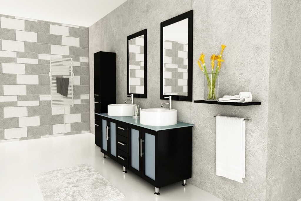 Double Bathroom Vanity Mirrors Contemporary Design (Image 7 of 16)