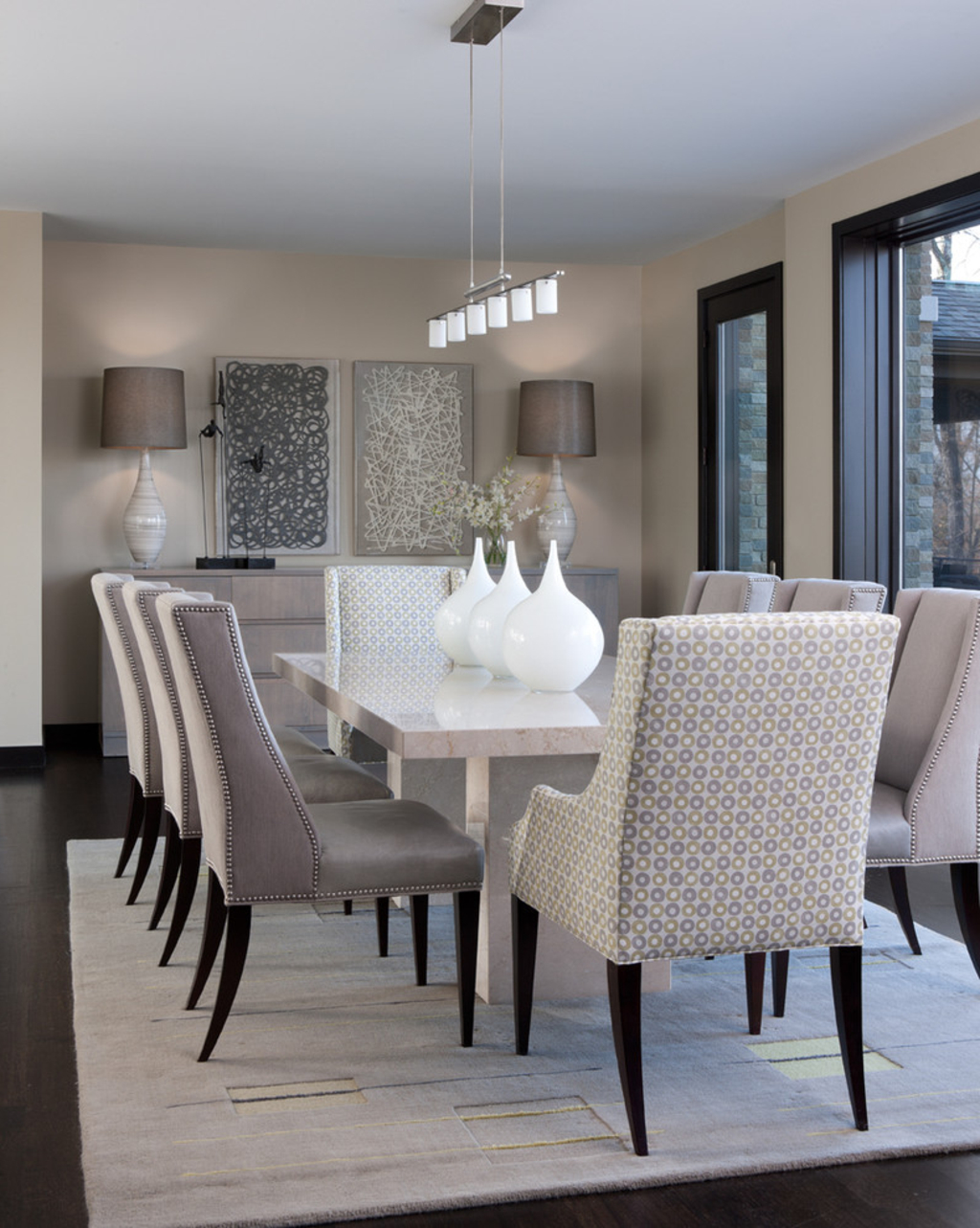 Elegance Mosaic Dining Room With Marble Table (Image 3 of 6)