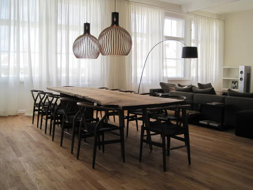 European Contemporary Dining Room Interior With Wooden Furniture (Image 5 of 9)