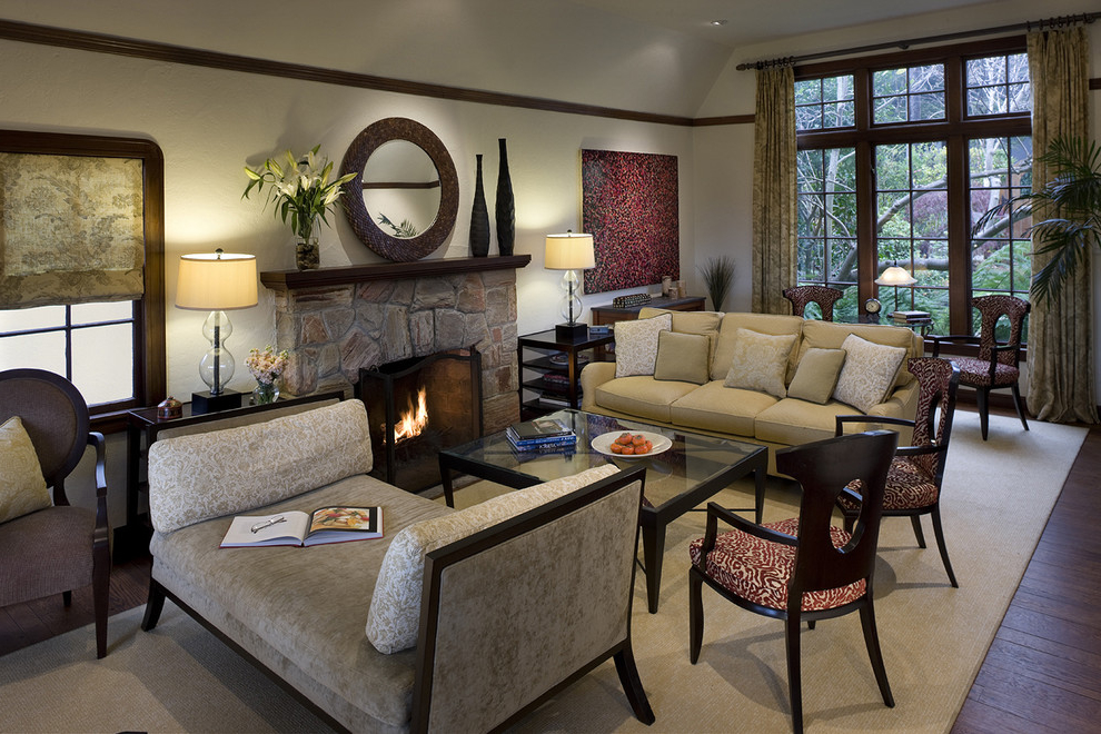 Fabric Living Room Interior Decor With Fireplace (Image 6 of 10)
