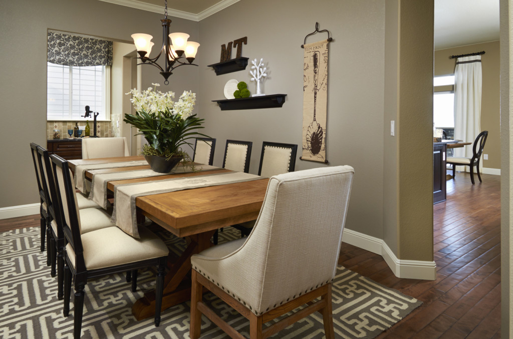 Formal dining room with contemporary table and chairs image 16 of 30