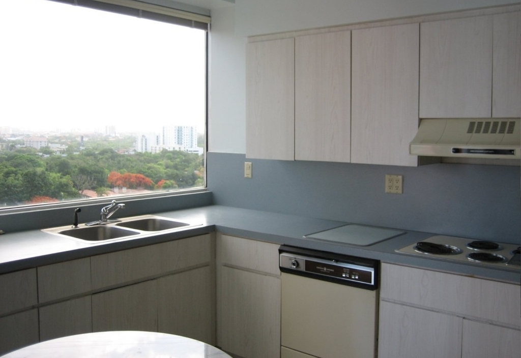 Kitchen Apartment With Large Glass Windows (View 19 of 21)
