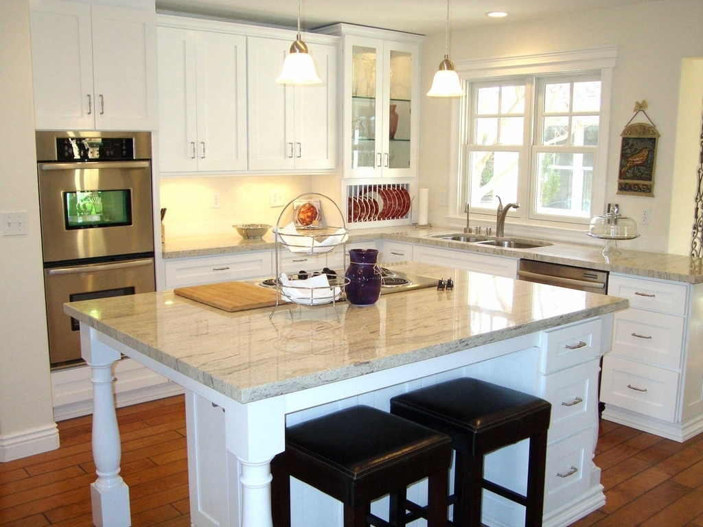 Kitchen With White Marble Countertop And White Cabinets (Image 6 of 12)