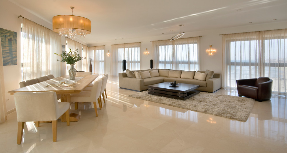 Luxury Apartment Living Room With Marble Flooring (View 2 of 9)