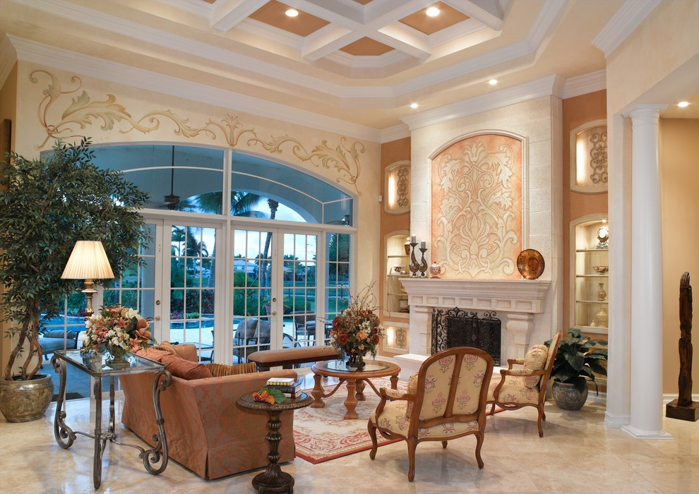 Luxury Living Room In Italian Style With Marble Flooring (Image 7 of 9)