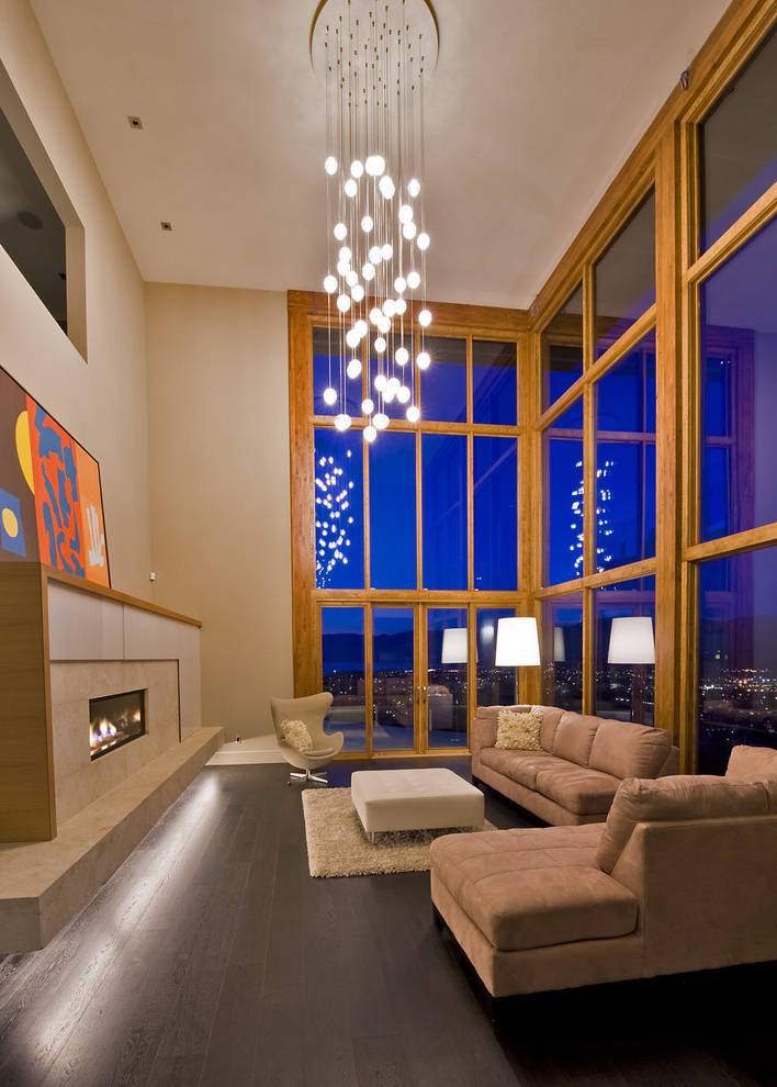 Minimalist Contemporary Living Room Chandelier Lamp (Image 10 of 13)