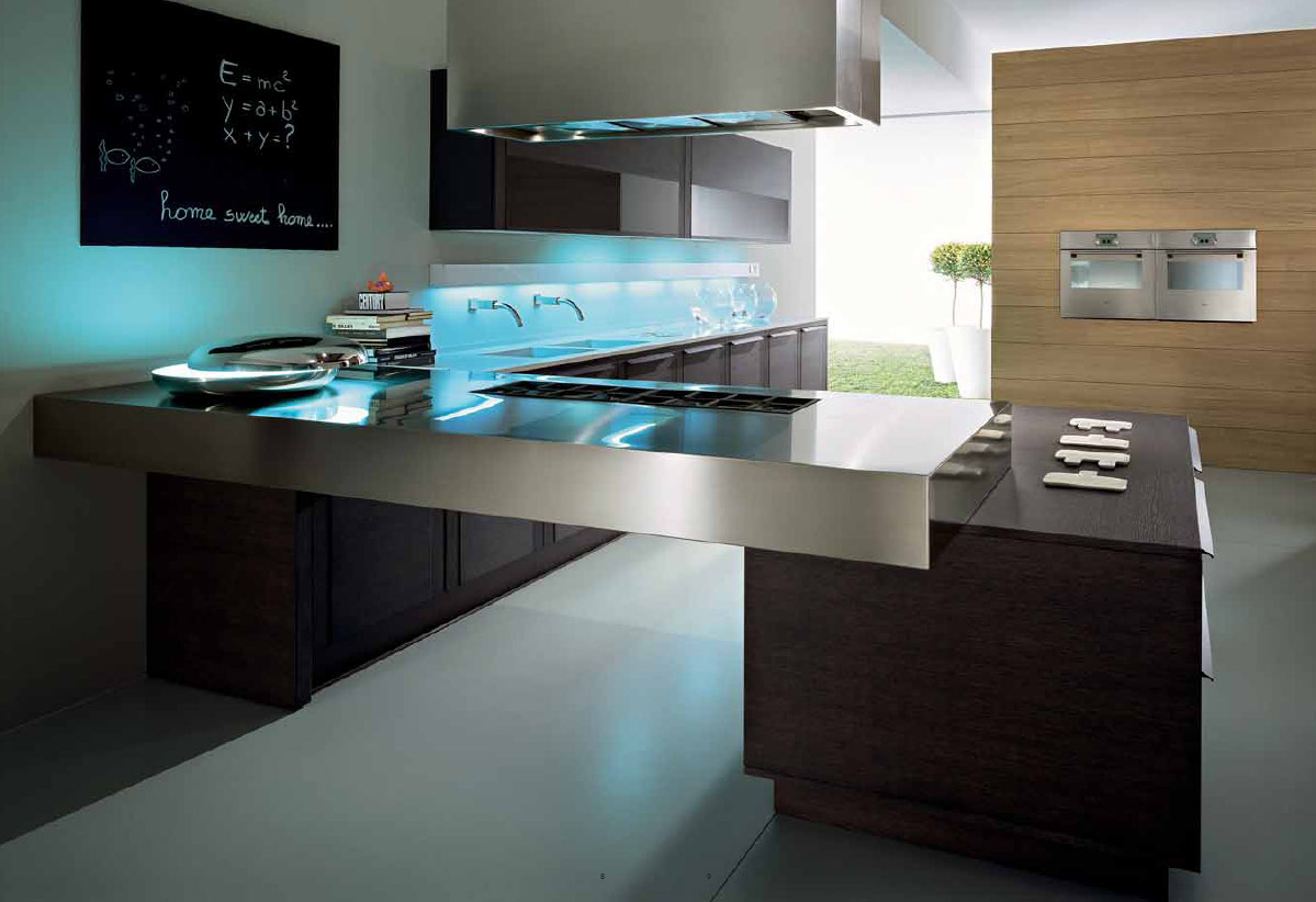 Modern Contemporary Kitchen Cooking Table And Modern Wall (View 5 of 8)