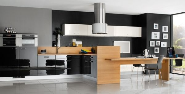 Modern Contemporary Kitchen Cooking Wooden Table And Iron Chairs (View 6 of 8)