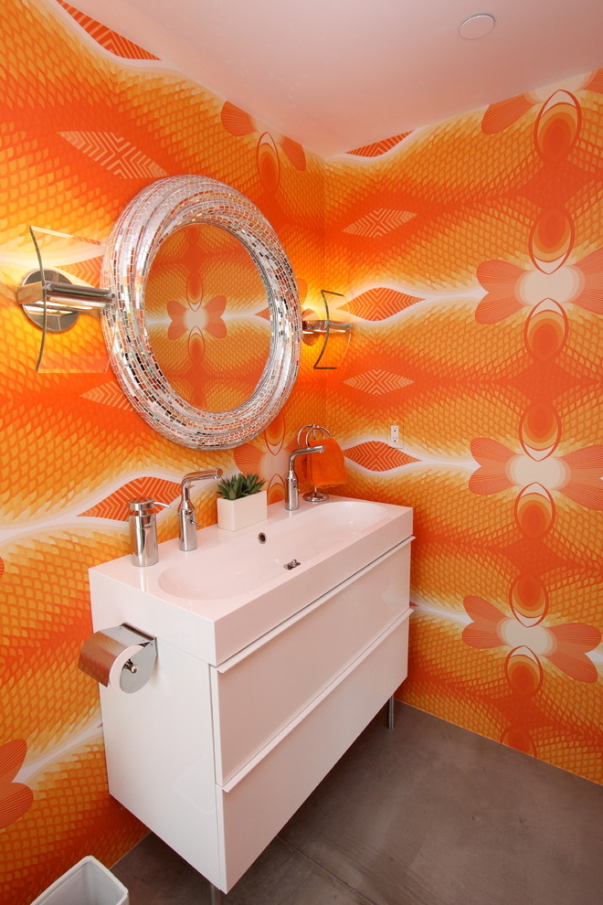 Modern Corner Bathroom Vanity Cabinet With Cute Wall Decor In Orange (Image 6 of 8)