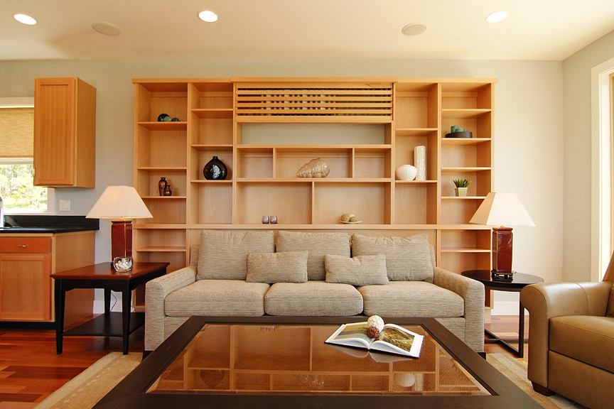 Modern Living Room With Recessed Air Conditioner In Wooden Cabinet (Image 16 of 19)