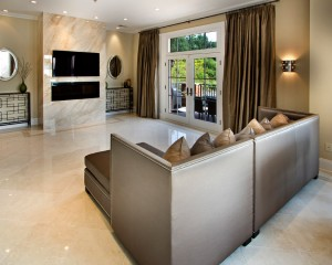 Modern Living Room with White Marble Flooring