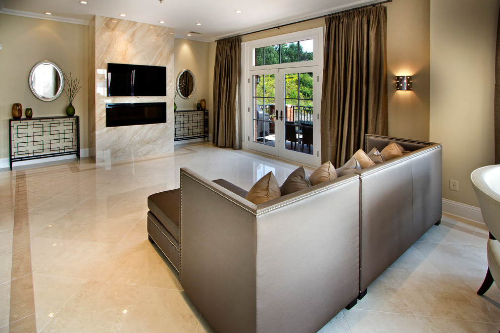 Modern Living Room With White Marble Flooring (View 5 of 9)
