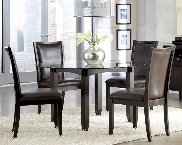 Modern Round Glass Top Wooden Dining Room Table With Gray Chair (View 9 of 10)