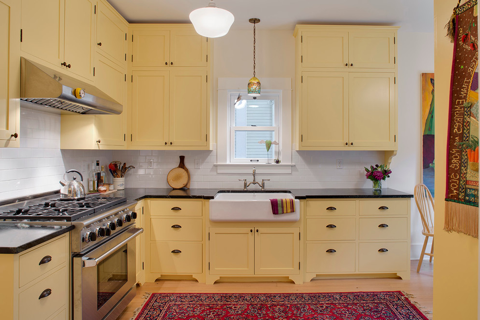 Contemporary kitchen cabinet paint colors recommendation for Modern yellow kitchen cabinets