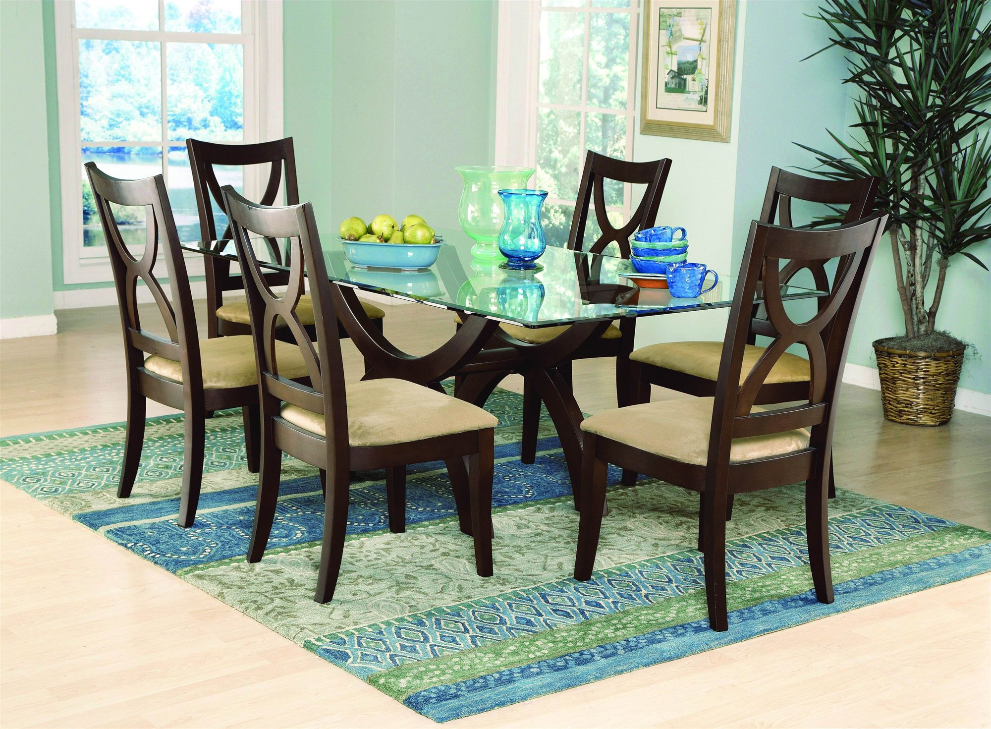 Oval Glass Dining Table With Wood Base Dining Rooms Design Idea (Image 6 Of  10
