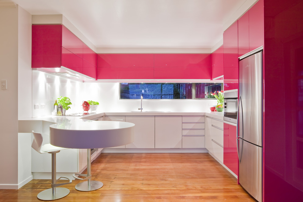 Pink Kitchen Cabinet Modern Design (View 9 of 13)