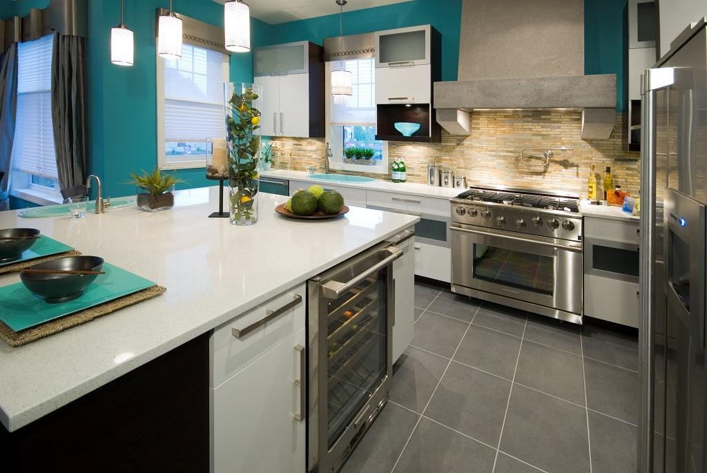 Porcelain Tile Flooring For Modern Kitchen In Gray Color (View 4 of 4)