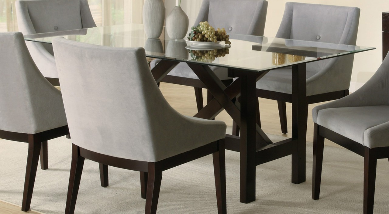Rectangular Glass Top Wooden Dining Room Table (View 2 of 10)