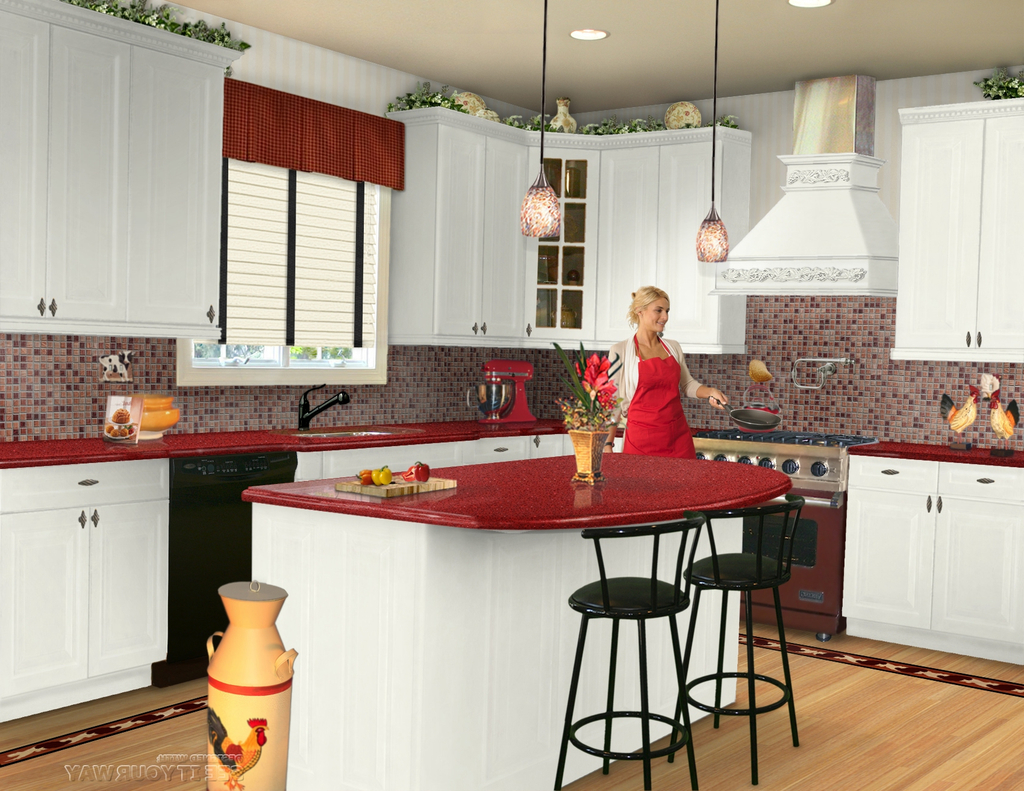 Red Kitchen Countertops With White Cabinets Ideas (View 4 of 12)
